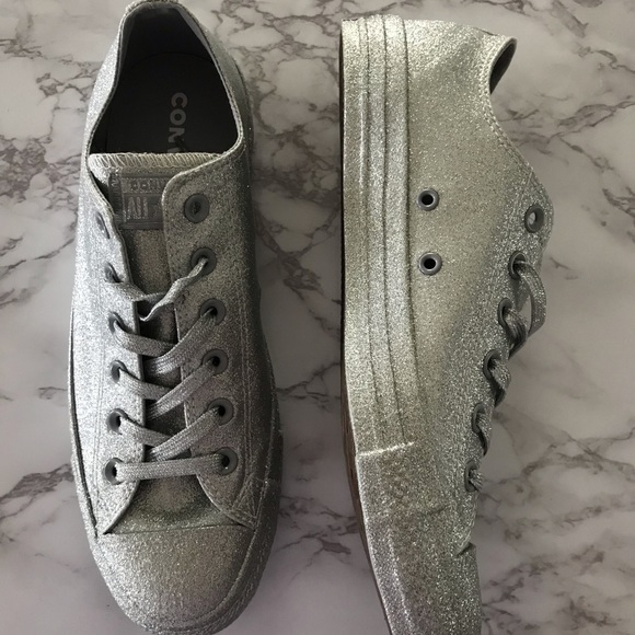 Converse Shoes   Womens Glitter Silver